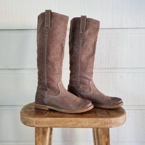 EUC Frye Celia X Stitch Leather Boots Size 7 Gray